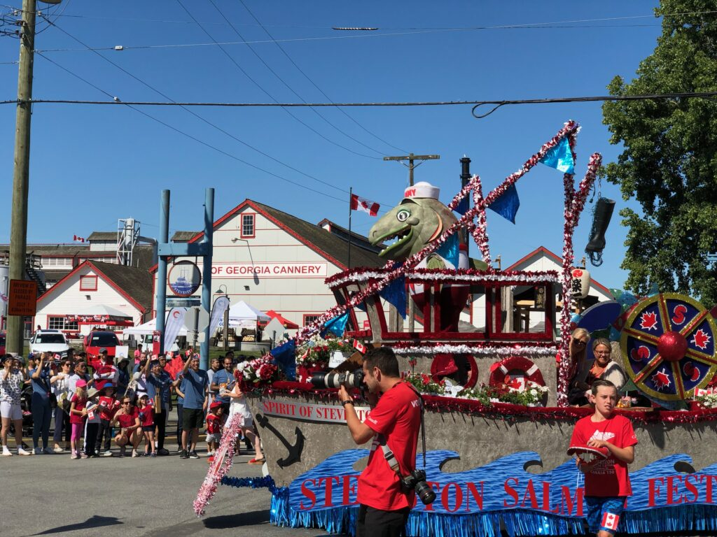Canada Day parade float in front of the Cannery