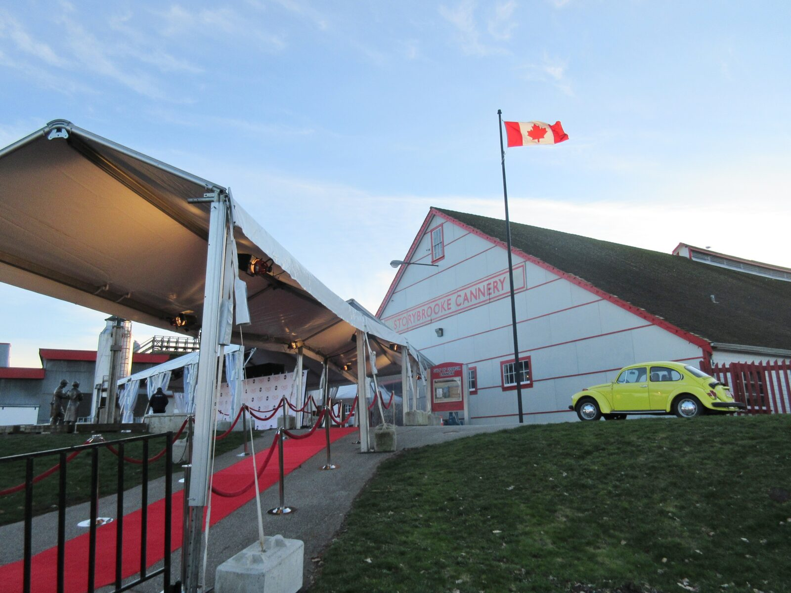 Red carpet set up in front of the cannery